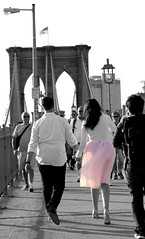 """She's like the wind through my dreams"" - Patrick Swayze (Lidiya Nela) Tags: candid city specialmoment happiness romantic romance love people bridge couple streetphotography newyork urban nyc newyorkcity pink partialcolor selectivecolor brooklynbridge"