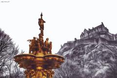 Edinburgh Castle (Billy McDonald) Tags: hdr edinburghcastle selectivecolour fountain scotland therossfountain