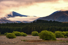 Landscapes - South Island, New Zealand (Luminor) Tags: new morning trees sky lake mountains colour green nature clouds sunrise island early nikon pacific south places full zealand frame range 70200 tekapo d700