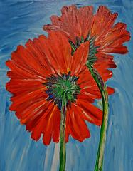 Stand by Me (BKHagar *Kim*) Tags: flowers red art floral daisies painting artwork paint acrylic bold bkhagar