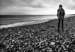 Walk the pebbles. (CWhatPhotos) Tags: pictures camera uk sea england white 3 black beach digital that lens photography eos prime grey mono coast three day foto with shot image artistic cloudy pics mark iii north picture pic pebbles images east have pebble coastal photographs photograph fotos manual which f28 mk contain seaham 14mm samyang canpn pebbley cwhatphotos