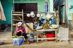 stock_DSC0407_Vietnamese fast food street vendor at Long Hai fish market in early morning, Long Hai, Vung Tau, Vietnam (tranquocphongvn) Tags: morning travel sea people fish men ice beach hat breakfast river indonesia asian boat early fishing sand women asia long vietnamese village basket fishermen market outdoor traditional culture lifestyle son vietnam viet exotic transportation fisher buy customer marketplace local tau tradition agriculture sell hai trade fishmarket seller nam chava conical ingredient vungtau vung longson longhai