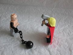 Thor vs. Absorbing Man (arctroopera79) Tags: man ball lego evil mini chain figure masters custom thor marvel villain avengers absorbing minifigure moc