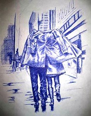 pen (eclectic-wave) Tags: art love rain pen couple drawing shelter sketches innk