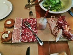 Affettati Misti: trotter fritti, butcher's pate, salame, pork butter, lardo grissini, coppa