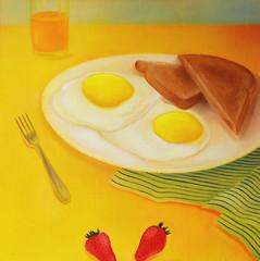 Sunny Side Up (Shannon L. Castor) Tags: stilllife food art kitchen fruit illustration breakfast painting recipe stripes toast strawberries plate fork eggs friedegg orangejuice foodart sunnysideup oilpainting teatowel kitchenart shannonlcastor shannoncastorart