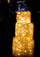 Arizona snowman (lancenesbitt) Tags: christmas blue red arizona white snow man phoenix night yard canon eos rebel lights snowman desert front presents t3i
