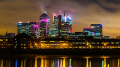 Canary Wharf (Mandyspace) Tags: london tower thames skyline night skyscraper buildings river long exposure wharf canary