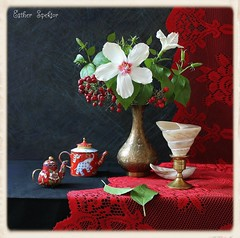 Winter Solstice (Esther Spektor - Thanks for 6 millions views..) Tags: blue winter red stilllife white black flower color reflection green texture metal bronze composition canon golden miniature leaf stem berry pattern lace availablelight curtain ivory shell stilleben solstice hibiscus fantasy vase teapot bouquet bud candleholder tabletop bodegon naturemorte holidayseason nandina artisticphotography enamel naturamorta naturezamorta creativephotography estherspektor