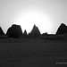 Meroe Royal Cemetery - northern group sunset