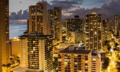 Sunset city scape - Waikiki Beach (CrisssFotos) Tags: sea beach night clouds lights hawaii cityscape waikiki hilton hotels ohau christmas2014