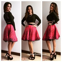 Sunny Leone in Archana Kochha'rs Printed Flare Skirt (shaf_prince) Tags: india fashion top actress bollywood shortskirt 2016 sunnyleone designerwear archanakochhar
