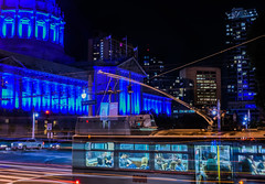 short life's rushing by (pbo31) Tags: sanfrancisco california city blue urban black color bus night dark spring nikon pattern traffic cityhall may illuminated motionblur muni stop bayarea civiccenter roadway 2016 lightstream vannessavenue autismawareness boury pbo31 d810