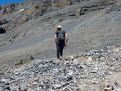 Cowboy heading to the summit of East End of Rundle (benlarhome) Tags: canada kananaskis hike alberta scramble scrambling