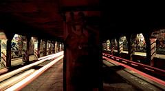 Headlights at the End of the Tunnel (Stephen Guilbert) Tags: longexposure atlanta streetart art cars car night georgia lights graffiti nikon dusk atl tunnel headlights le lighttrails brakelights lighttrail nikond3300