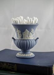 Vintage Wedgwood Urn (Lo & Co Vintage) Tags: blue white urn vintage antique retro vase british etsy wedgwood madeinengland stoneware jasperware locovintage