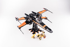 Lego_starwars_5669 (kyl080) Tags: orange black star stand starwars fighter lego whitebackground xwing wars minifigs custom poe moc 2016 dameron 75102