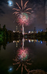 Squiggly Fireworks (DSC01480) (Michael.Lee.Pics.NYC) Tags: longexposure lake newyork reflection night fireworks centralpark sony newyorkphilharmonic concertinthepark a7rm2 zeissloxia21mmf28