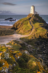 Llanddwyn (Vemsteroo) Tags: morning sea lighthouse beach sunshine wales sunrise religious outdoors island coast spring rocks waves exploring north hike holy remote llanddwyn anglesey circularpolariser 1655mm