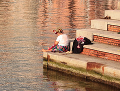 an unusual person (ludi_ste) Tags: sea woman port reflections donna mare harbour porto streetartist unusual riflessi singolare