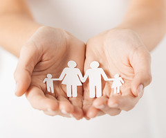 close up of womans cupped hands showing paper man family (httlgd.truyenthong) Tags: people woman white building parenthood up silhouette paper advertising happy person big holding support arms tshirt son row palm help planning secure saving care shape showing protection protect promoting