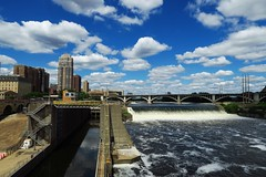 2016, Minneapolis, MN, USA (carythary) Tags: minneapolis minnesota mn usa mississippi river stanthony locks bluesky clouds skyline city
