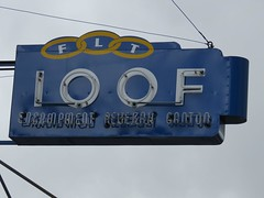 Newer Oddfellows sign (jimsawthat) Tags: downtown neon idaho fraternal pocatello metalsigns ioof