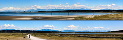 Northern Mountains (Split Panorama) (A.G. Buron Photography) Tags: water vancouver clouds sand outdoor surrey crescentbeach vancouverbc surreybc mudbay armandburon
