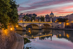 St Peter's sunset (Bob Kirschke) Tags: sunset italy roma colors clouds ngc it tiber lazio romeitaly 2016 tiberriver