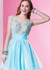 Elegant Tulle Bateau Neckline A-line Homecoming Dress with Beaded Lace Appliques (miyadresses2016) Tags: elegantdress beautifuldress prettydress stunningdress bluedress sequindress floraldress halterdress