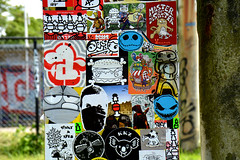 stickercombo (wojofoto) Tags: streetart stickers stickerart stickercombo wojo amsterdamsebrug flevopark amsterdam nederland netherland holland wojofoto wolfgangjosten area