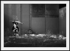 shelter from the storm (Andrew C Wallace) Tags: streetart blur art rain lensbaby umbrella ir concrete graffiti dof collingwood headstone australia victoria gravestone infrared tiltshift befree nikon50mmf14 tilttransformer olympusomdem5