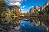Yosemite Valley reflected in the Merced (Darvin Atkeson) Tags: california autumn sky color reflection tree fall forest river landscape waterfall nationalpark merced canyon fallen yosemite blackoak bridalveil darvin atkeson darv lynneal yosemitelandscapescom