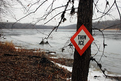 Thin Ice (U.S. Fish and Wildlife Service - Midwest Region) Tags: winter lake signs fall ice water minnesota sign river midwest safety creativecommons mn usfws thinice usfishandwildlifeservice icesafety