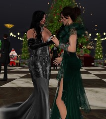 Christmas Eve Together (alexandriabrangwin) Tags: world christmas woman black tree green love beautiful club silver computer lesbian hair festive evening dance 3d graphics friend couple long married place dancing formal silk jazz jewelry best celebrations gloves together secondlife virtual wife flowing elegant gowns satin emerald partner franks cgi sona updo gauntlets mondybristol alexandriabrangwin