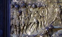 Ghiberti, Gates of Paradise, David panel, detail with soldiers