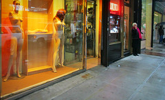 the naked mannequin city (Robert S. Photography) Tags: street nyc people color brooklyn umbrella nude brighton mannequins december smoking shops canonpowershot rainydays 2014 a3400