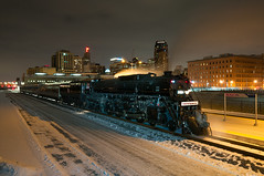 Steam at St Paul Union Depot (shawn_christie1970) Tags: snow minnesota skyline night downtown unitedstates engine steam happybirthday depot saintpaul spud northpoleexpress milwaukee261 stpauluniondepot