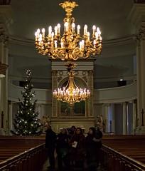 Festive Season XXXIV (Rowanhill) Tags: christmas people tree finland festive season helsinki cathedral altar chandeliers inside lutheran