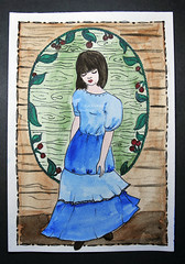girl (Yulia Correal Román) Tags: portrait woman madera arte retrato personas human watercolour persons draw rusia ilustraciones dibujar ilustrations aquarelas
