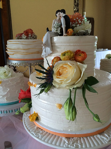 """Styled buttercream wedding cake with fresh flowers. • <a style=""""font-size:0.8em;"""" href=""""http://www.flickr.com/photos/50891271@N03/16160681430/"""" target=""""_blank"""">View on Flickr</a>"""