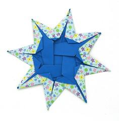 Fujimoto square Rosette  31 back (Pliages et vagabondages) Tags: square star origami rosette décoration déco fujimoto