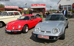 Little sports cars (The Rubberbandman) Tags: blue france classic sports car race germany french metallic rally renault 1600 alpine german winner vehicle gt mica coupe coup opel motorshow nordenham roadster renaultalpine rallycar 1600s carrace bockhorn metallicblue opelgt classicmotorshow oldclassic