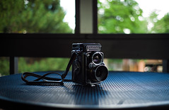 ken's rollei (whlteXbread) Tags: camera summer stilllife rolleiflex colorado afternoon bokeh thing denver patio summicron filmcamera m9 35mmf2 2013 whatimseeing