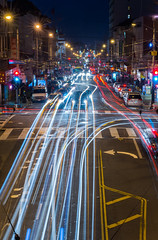 going the wrong way on a one way street (pbo31) Tags: sanfrancisco california city longexposure winter urban motion color bus night dark nikon chinatown traffic infinity over january motionblur muni nobhill roadway d800 traffictrails stocktonstreet 2015 lightstream