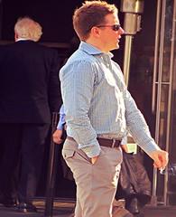 (ManontheStreet2day) Tags: male guy ass sunglasses businessman belt cigarette butt hunk business bubble stud bubblebutt