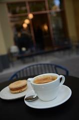 Caramel almondjaws, long black coffee AUD4 each - Market Lane Coffee, Collins Street, Melbourne - shopfront (avlxyz) Tags: coffee cookie drink almond biscuit caramel crema caffe blackcoffee fb4 caffelungo longblackcoffee almondjaw