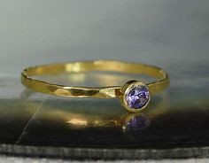 Dainty Solid 14k Gol (alaridesign) Tags: by real gold band ring mothers 14k amethyst february dainty solitaire solid birthstone 3mm alaridesign
