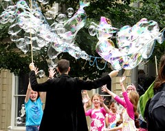 So much fun - Bubbles galore! Downtown, Montreal, July 2015 (Judith B. Gandy) Tags: urban canada streets cityscape streetperformers montreal cities bubbles québec artists performers streetscenes streetartists