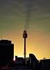 Centerpoint Tower channelling dark light! (Kent Johnson) Tags: sunset sky tower skyline sydney skylight beam westfield godlight centerpointtower g10 1100logoadjseccrpimg2084